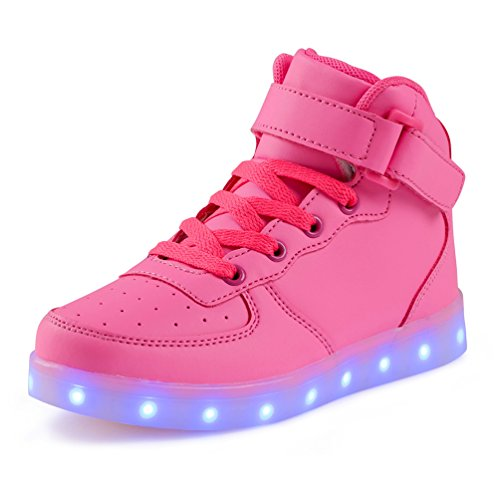 KEVENI Kids Boys Girls High Top USB Charging Led Shoes Light up Flashing Shoes Fashion Sneakers Pink 36 -