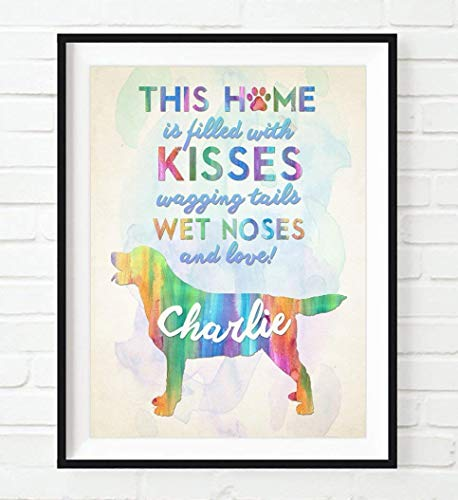 PERSONALIZED Name Pet Watercolor Labrador Retriever Lab Dog Home Silhouette UNFRAMED ART PRINT - Christmas - Birthday- Housewarming gift home decor poster, ALL SIZES