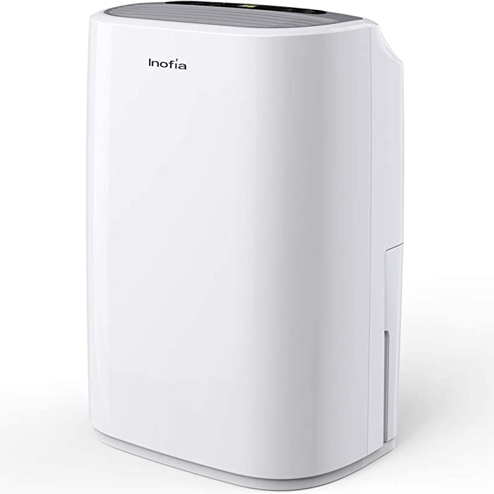 Inofia 30 Pints Dehumidifier Mid-Size Portable for Basements & Large Rooms, Intelligent Humidity Control for Space Up to 1056 Sq Ft, Continuous Drain Hose Outlet for Bathroom Basements Garage