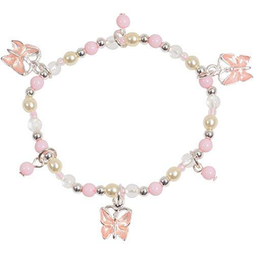 Little Girl Pink Pretty Butterfly Bead Stretch Bracelet in Silver Tone and (Enamel Crystal Stretch Bracelet)