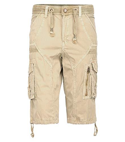 TWO BLOCKS OFF Cargo Shorts for Mens, Rib Waist/Multi Pocket,Leg Straight & Loose Fit Khaki Size 32 (Capri Drawstring Shorts)
