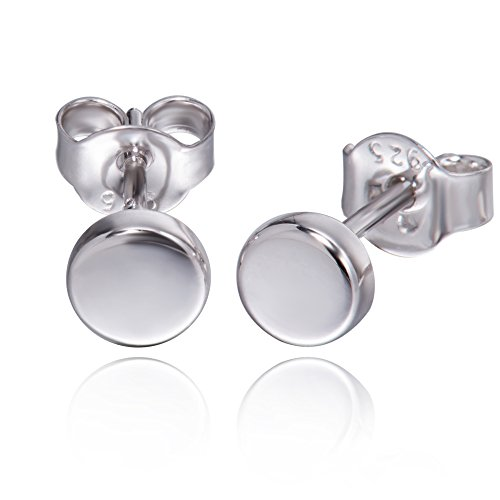 - S.Leaf Minimalism Tiny Dot Earrings Sterling Silver Disc Stud Earrings Everyday Wear (White Gold)