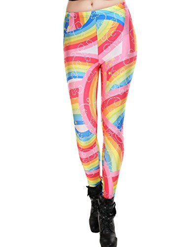 Women's Rainbow Leggings by Neon Nation, Stretchy One Size