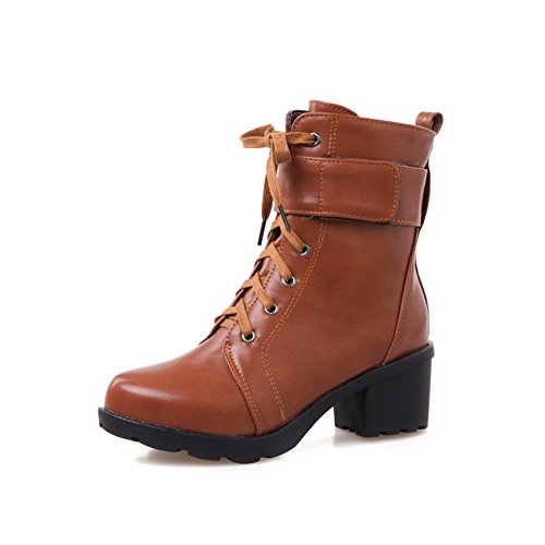 AgooLar Women's Solid Kitten-Heels Round Closed Toe PU Lace-up Boots Brown KJv5f