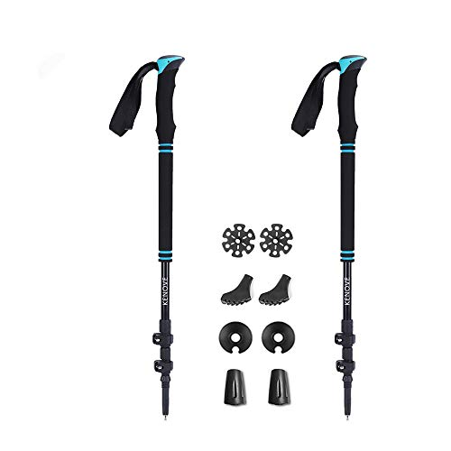 vicelecus Trekking Poles - Collapsible Ultralight Hiking Walking Sticks with Quick Lock & Sweat Absorbing EVA Foam Grips for Camping Mountaineering - 2 Packs for Women Men Kids by vicelecus