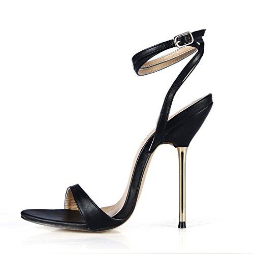 sexy sandali tacco Chmile Donna Caviglia Negro cinturino Alla Spillo partito Chau scarpe A moda pu Tacco Da Metallo Alto 4SwPfqwy