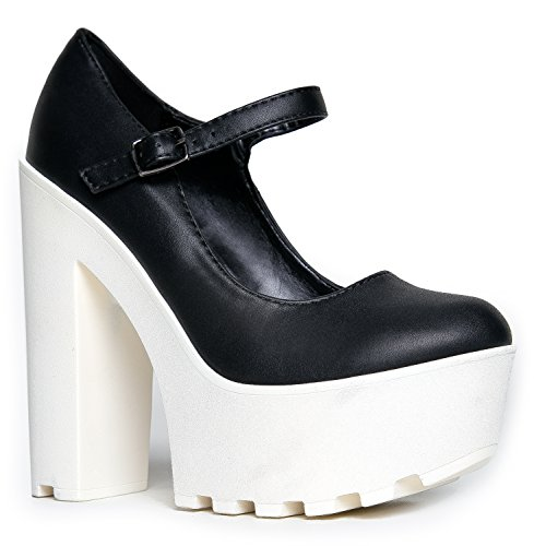 Ankle Strap Mary Jane Platform Chunky High Heel Pump, Black White PU, 7.5 B(M) US