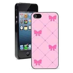 Apple iPhone 5c Hard Back Case Cover Color Pink Bows Pattern (Black)