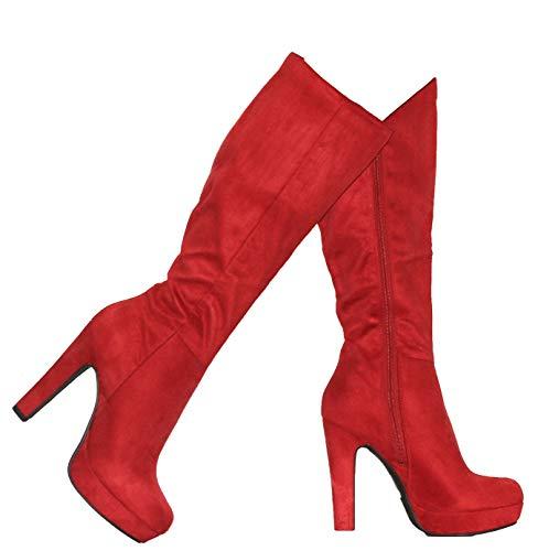 (MVE Shoes Women's High Heel Almond Toe Knee-high Boots, Rhythm RED ISU)