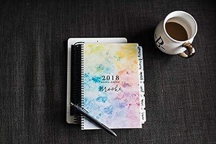 Amazon.com : 2019 Weekly Planner   Watercolor Design   2019 ...