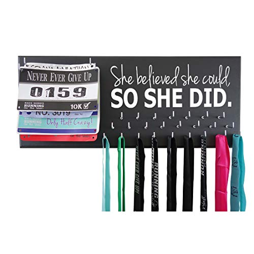 Running On The Wall - Race Bib and Medal Display Rack- Wall Mounted Sports Medal Holder and Hanger for 5K, 10K and Marathons Runners - SHE Believed SHE Could, SO SHE DID ()