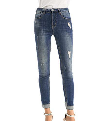 Denim Cucitura Strappato Skinny Blu In Donna Fondo Caviglia Alla Jeans Matita Stretti Pantaloni Zhiyuanan Rotti Casual Chiaro xCSF7qw7