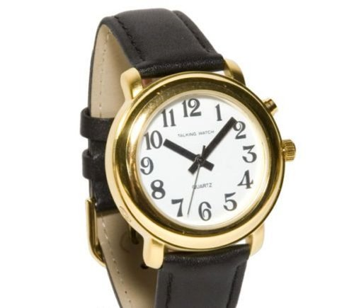 (Ladies Deluxe Talking Wrist Watch Gold Tone w/Black Leather)