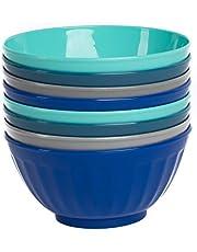 Klickpick Home 6 Inch Plastic Bowls Set of 8-28 ounce Large Plastic Cereal Bowls Microwave Dishwasher Safe Soup Bowls - BPA Free Bowls 4 Coastal Colors (2 of Each Color)