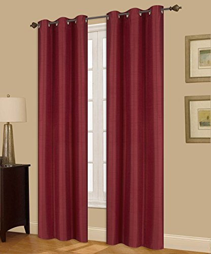Window Curtain Foam Lined blackout thermal treatment Red wine - 5