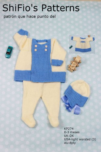 patrón para dos agujas - KP274 - chaqueta matinée, leggins y sombrero para bebé (