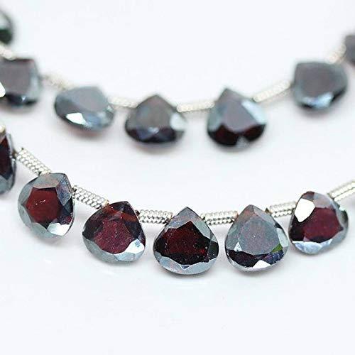 GemAbyss Beads Gemstone Red Almandine Garnet Faceted Heart Drop Gemstone Loose Beads Strand 4 Inch Long 6mm ()