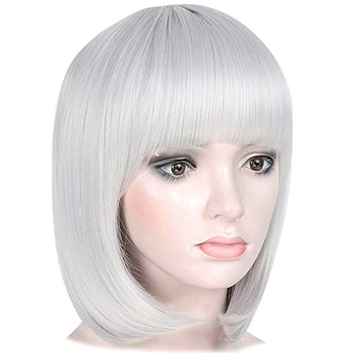 Short Bob Hair Wigs with Bangs Silver Grey Synthetic 12