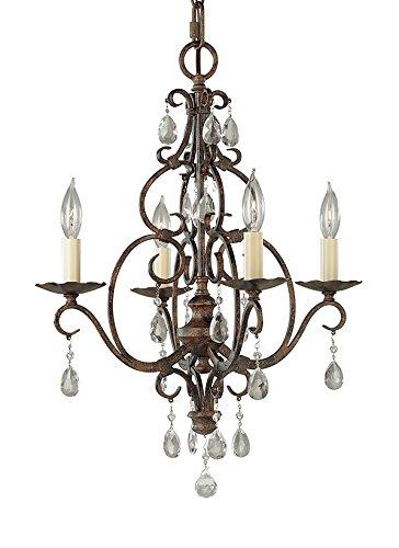 Mocha Bronze Finish Chandeliers - Murray Feiss F1904/4MBZ Chateau, Mini Chandelier, 4 Light, 240 Watts, Mocha Bronze