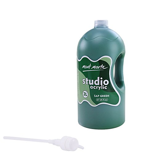 Mont Marte Studio Acrylic, Sap Green, 1/2 Gallon (2 Liter). Ideal for Students and Artists. Excellent Coverage and Fast Drying. Pump Lid Included.