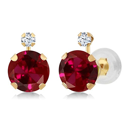 Gem Stone King 14K Yellow Gold Round Red Created Ruby & White Created Sapphire Women's Earrings (2.08 cttw) ()