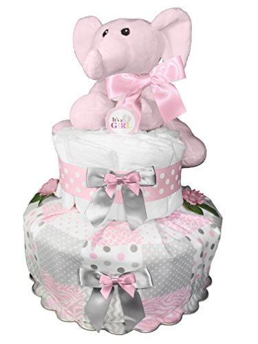Elephant Diaper Cake for a Girl - Newborn Gift - Baby Shower Centerpiece - Chevron Pink and Gray from Sunshine Gift Baskets