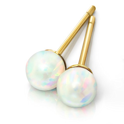 Opal Earrings - Celebrity Approved Opal Stud Earrings 6mm Gold Stud Earrings Gold Earrings Ball Studs 6mm 4mm Fiery White Opal Jewelry Studs Earrings Hypoallergenic Fire Birthstone