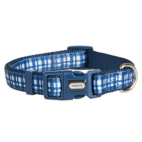 (YUDOTE Dog Collar with Classic Blue Plaid, Durable Nylon Collar, Soft and Comfortable, Adjustable Collars for Dogs & Puppies, Medium, Neck 12