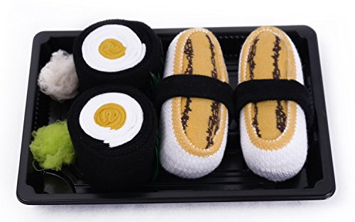 SUSHI SOCKS BOX 2 pairs Tamago Maki Oshinko Unisex FUNNY GIFT! Made in Europe S by Colors of Rainbow