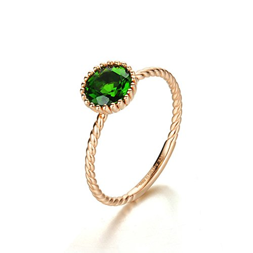 Gnzoe Rose Gold Women Wedding Rings Solitaire Engagement Rings Flowers Rose Gold with Green Emerald Size 6.5 by Gnzoe