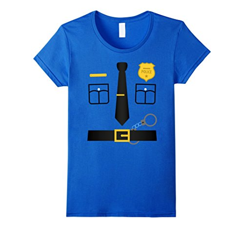 Womens Policeman Costume T-Shirt Halloween Outfit Kids Adult Tee Large Royal (Womens Police Shirt Adult Costumes)
