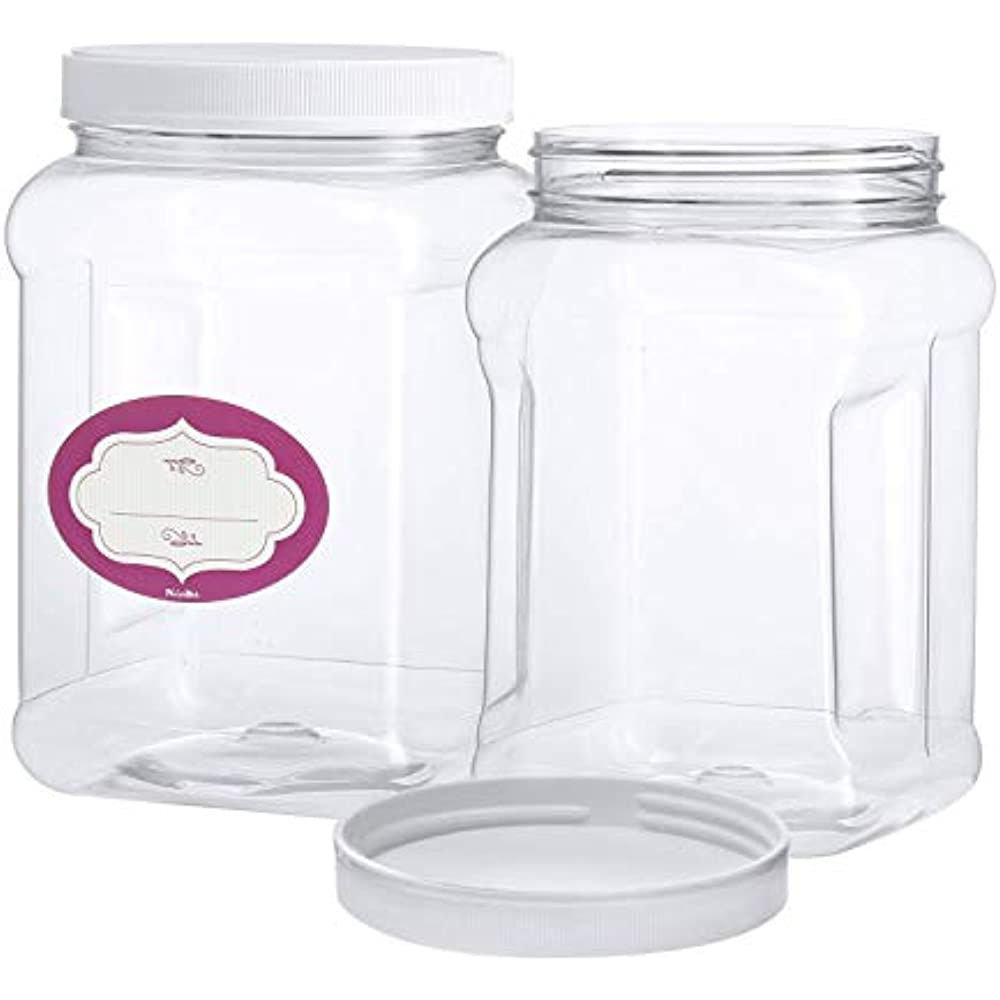 1e458fb49622 Details about 3 Pack - Half Gallon Large Clear Empty Plastic Storage Jars  With Lids Square Air