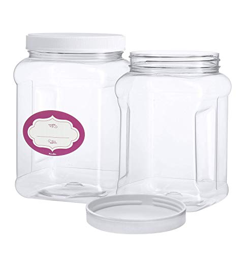 3 Pack - Half Gallon Large Clear Empty Plastic Storage Jars with Lids - Square Food Grade Air Tight Wide Mouth Container with Easy Grip Handles - BPA Free Multi-Purpose Jar (Jars Square Plastic)
