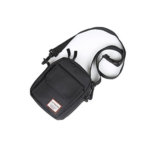 Passport Holder, Travel Wallet Neck Pouch/Purse, small Messenger RFID blocking (Black) Black Mini Messenger Bag
