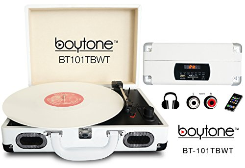 Boytone BT-101TBWT 5 in 1 Briefcase Record Player AC-DC Built in Rechargeable Battery, with 2 Stereo Speakers 3-Speed 33/45/78, LCD Display, FM Radio, USB/SD Slot, AUX + MP3, Encoding, Headphone Jack by Boytone