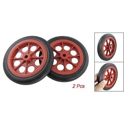"Sonline 2 x Ruedas 4.4"" para Cesta Carro de Compras Reemplazable - Rojo Negro"
