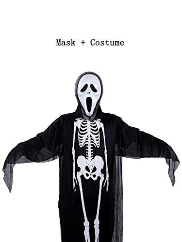 Century Star Halloween Cosplay Classic Skeleton Ghost Skull Face Mask Full Set CostumeChild Set A One (Skull Bride Mask With Hair)