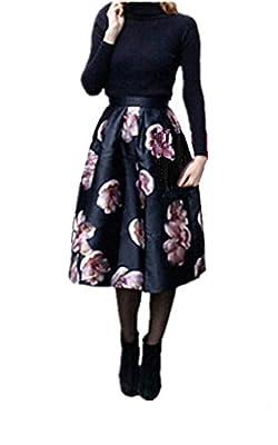 Dicesnow Vintage Style High Waist Midi Skater Skirt one Size Skirts