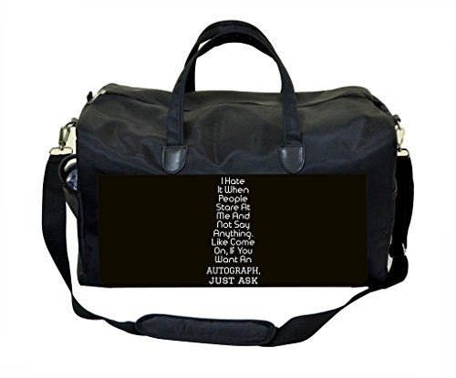 Autograph Quote in Black & White PU Leather and Suede Weekender Bag