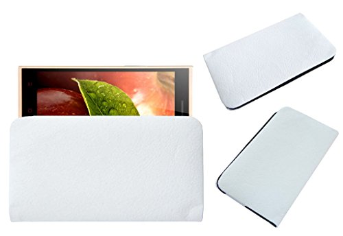 Acm Rich Leather Soft Case Compatible with Iberry Auxus Note 5.5 Mobile Handpouch Cover Carry White