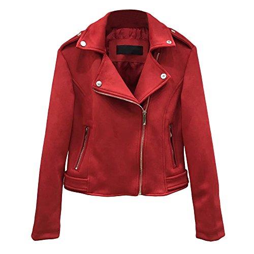 Amacok Retro Soft Suede Leather Short Moto Jacket Women Slim Fit Coat Zipper Lapel Outwear (Red, L) by Amacok