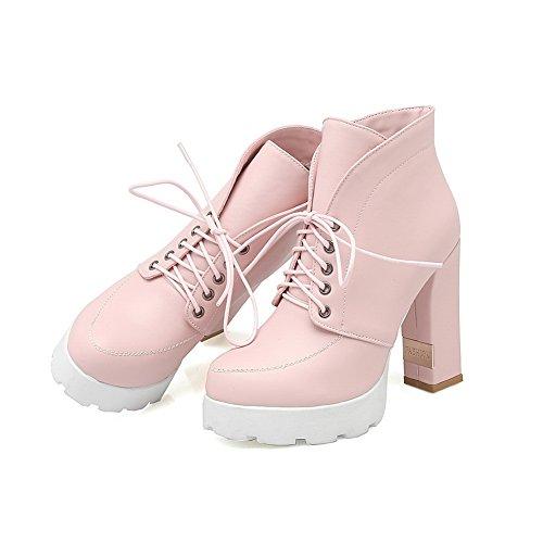 1TO9 Girls Bandage Chunky Heels Platform Imitated Leather Boots Pink dznRoG