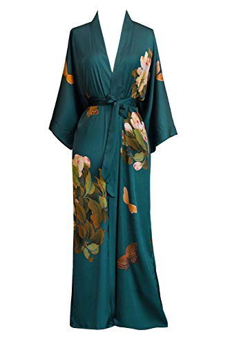 Peignoir Robe Nightgown - Old Shanghai Women's Kimono Robe Long - Watercolor Floral (Peony & Butterfly- Vintage Teal)