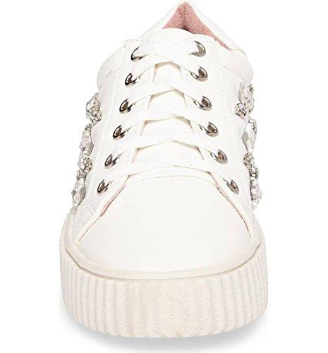 Sneakers Lauren Lorraine In Pelle Bianca Impreziosita Da Strass