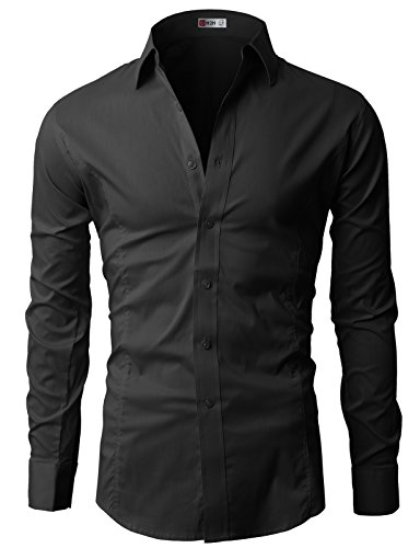 H2H Mens Wrinkle Free Slim Fit Dress Shirts with Solid Long Sleeve BLACK (US M, Asia L) (JASK14)