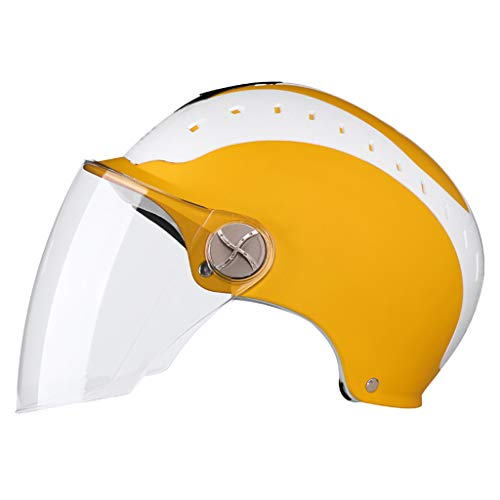 Motorcycle Helmet Men Women Universal Electric Vehicle Summer Half Helmet Lightweight Breathable Transparent goggles (Color : Yellow) by Moolo