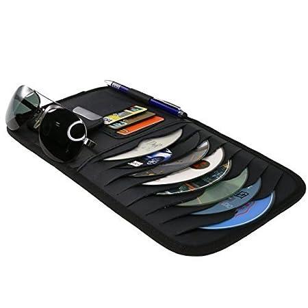 1 Sunglasses Holder StyleZ CD Sun Visor Organizer Detachable Portable PU Leather with 8 CD Slots 1 Pen holder 3 Credit Cards Pockets Black