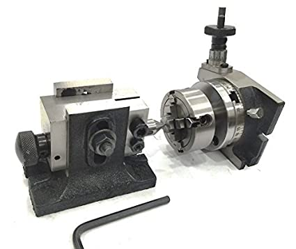"""New  3/"""" Inches// 80 mm Tilting Rotary Table with 80 mm 4 Jaws Independent Chuck"""