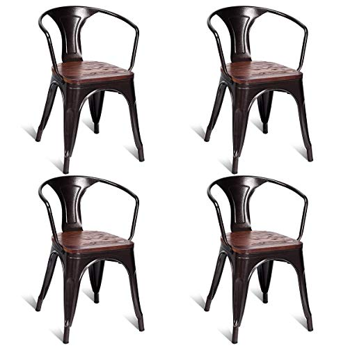 (Diamondgift Dining Room Kitchen Chair Stackable Tolix Style Copper Stool Metal Wood 4PC Set)