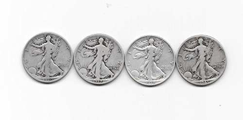 1917 1920 1938 1941 WALKING LIBERTY SILVER HALVES --- 4 NICE & AFFORDABLE --- VERN'S CARD & COIN Good-Vg